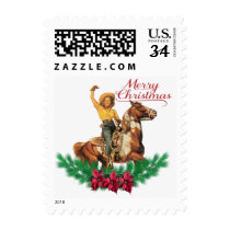 Western Vintage Cowgirl On Horse Merry Christmas Postage
