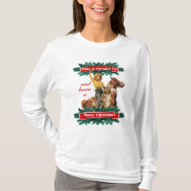 Western Vintage Cowgirl Up Merry Christmas T-Shirt