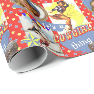 Western Vintage Cowgirl With Lasso Gift Wrap
