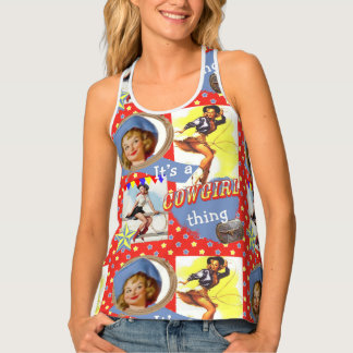 Western Vintage Cowgirls Roping Cowgirl Thing Tank Top