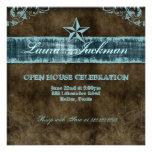 Western Vintage Grad Photo Card Blue Star Personalized Invitation