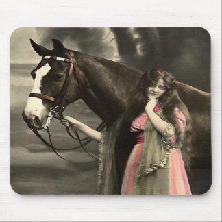 Western Vintage Horse Victorian Girl Mousepad