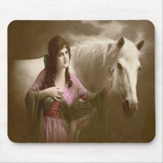 Western Vintage Horse Victorian Lady Mousepad