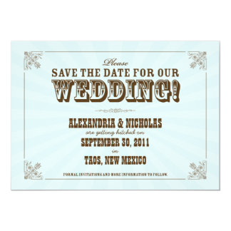 Western Vintage Save the Date Announcement (blue)