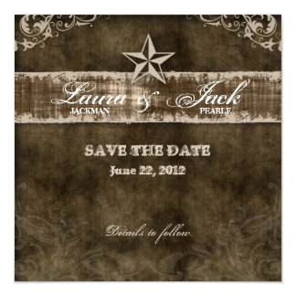 Western Vintage Save the Date Card Beige Star