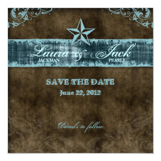 Western Vintage Save the Date Card Blue Star