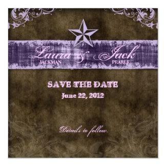 Western Vintage Save the Date Card Purple Star