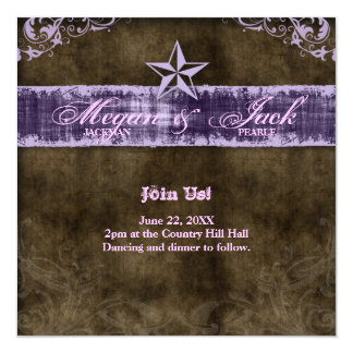 Western Vintage Save the Date Card Purple Star 2