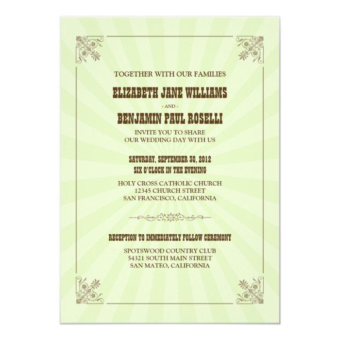 Western Vintage Wedding Invitation (sage)