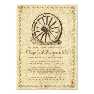 Western Wagon Wheel Bridal Shower Invitations Announcement
