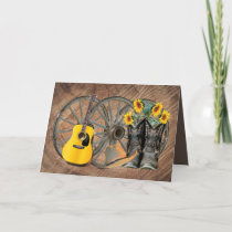 Western Wagon Wheel Guitar Cowboy boots Sunflower  Thank You Card