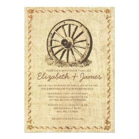 Western Wagon Wheel Wedding Invitations Announcements