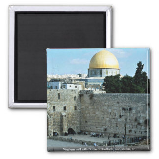 Western wall with Dome of the Rock, Jerusalem, Isr 2 Inch Square Magnet