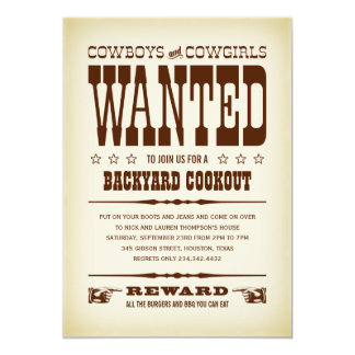 "Western Wanted Poster Party Invitations 5"" X 7"" Invitation Card"