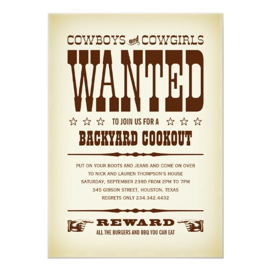 Western Wanted Poster Party Invitations | Zazzle.com