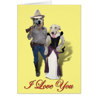 Western Wearin' Dog Couple Valentine Card