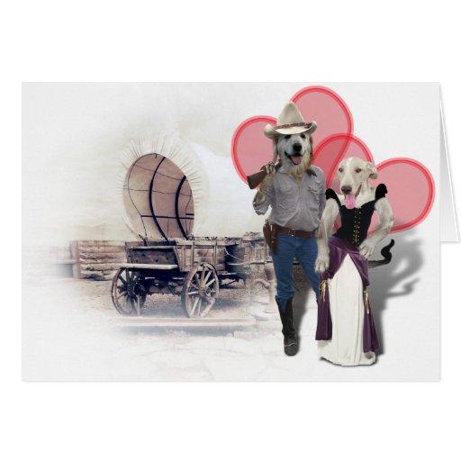 Western Wearin' Dog Couple w/Wagon Card