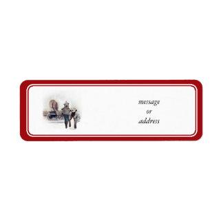 Western Wearin' Dog Couple w/Wagon Label