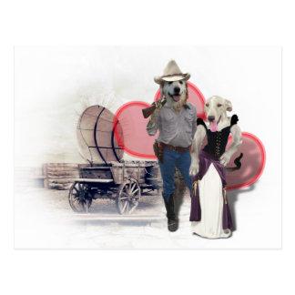 Western Wearin' Dog Couple w/Wagon Postcard