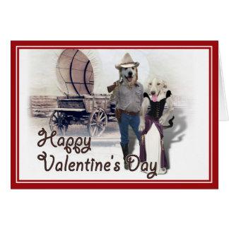 Western Wearin' Dog Couple w/Wagon Valentine Card