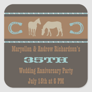 Western Wedding Anniversary Party Favor Stickers