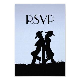 Western Wedding Blue RSVP Card