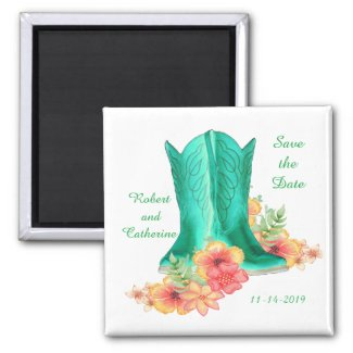 Western Wedding Cowboy Boots And Flowers Save Date Magnet