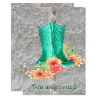 Western Wedding Cowboy Boots Flowers And Lace Card