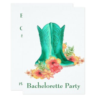 Western Wedding Cowboy Boots Flowers Bachelorette Card