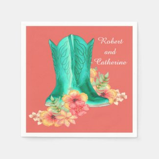 Western Wedding Cowboy Boots Flowers Custom Name Napkin