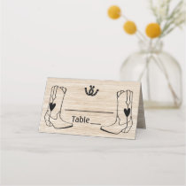 Western Wedding Cowboy Boots Rustic Brown Wood Place Card