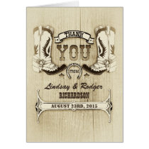 western wedding cowboy shoes thank you cards