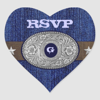 Western Wedding Denim Heart RSVP Envelope Seals