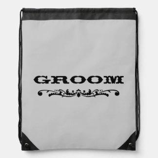 Western Wedding   Groom Drawstring Bag