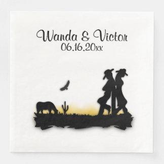 Western Wedding Personalized Paper Dinner Napkin
