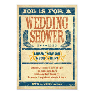 "Western Wedding Shower Invitations 5"" X 7"" Invitation Card"