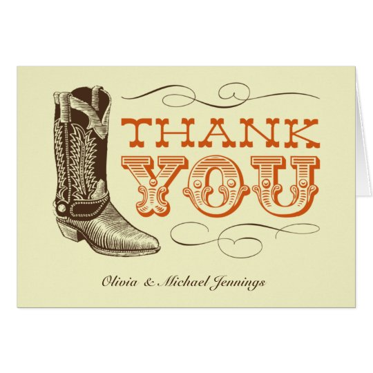 Western Wedding Thank You Cards
