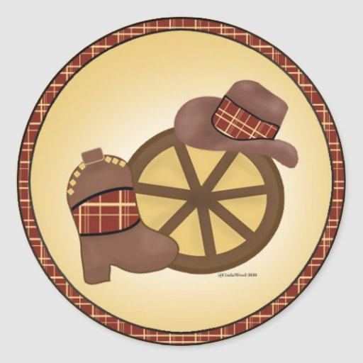 Western Wheel with hat and boots sticker