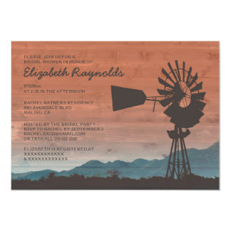 Western Windmill Bridal Shower Invitations