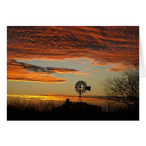 Western Windmill Sunset Cards