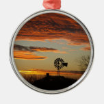 Western Windmill Sunset Christmas Ornament