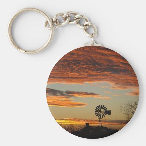 Western Windmill Sunset Keychain