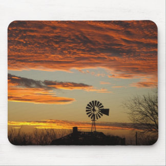 Western Windmill Sunset Mouse Pad