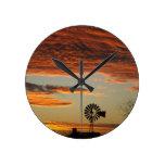 Western Windmill Sunset Round Clocks