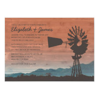 Western Windmill Wedding Invitations