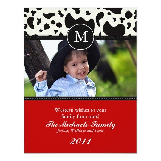 Western Wishes Monogram Christmas Card
