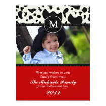Western Wishes Monogram Christmas Card