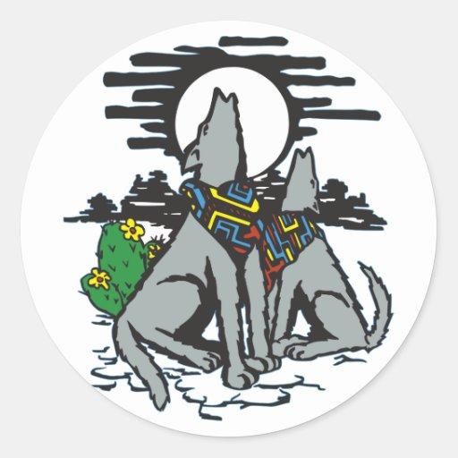 Western Wolf Howl Stickers