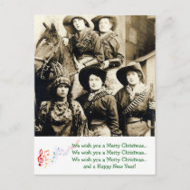 Western Women Christmas Greetings Holiday Postcard