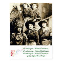 Western Women Christmas Greetings Postcard